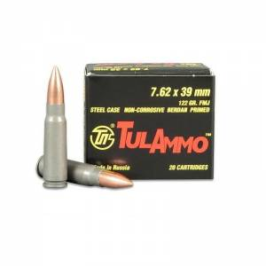 Tulammo 7,62x39 mm 122 GR.Steel Case Non-Corrosive Berdan Primed FMJ 20 round